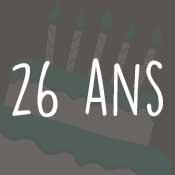 Carte anniversaire 26 ans