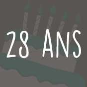 Carte anniversaire 28 ans