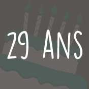 Carte anniversaire 29 ans