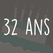 Carte anniversaire 32 ans