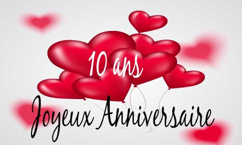 carte anniversaire amour 10 ans ballon coeur. Black Bedroom Furniture Sets. Home Design Ideas