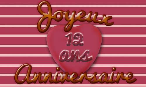 Carte Anniversaire Amour 12 Ans Coeur Rose