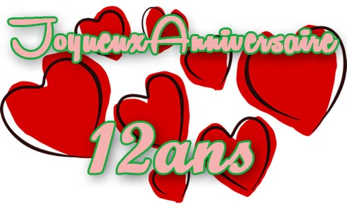Carte Anniversaire Amour 12 Ans Coeur Rouge