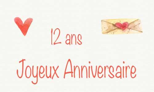 Carte Anniversaire Amour 12 Ans Deux Coeur