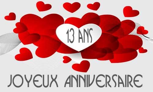 Carte anniversaire amour 13 ans multi coeur