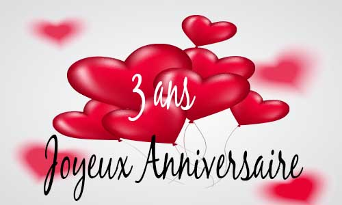 carte anniversaire amour 3 ans ballon coeur. Black Bedroom Furniture Sets. Home Design Ideas