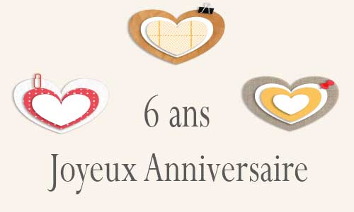 carte anniversaire amour 6 ans postite coeur. Black Bedroom Furniture Sets. Home Design Ideas
