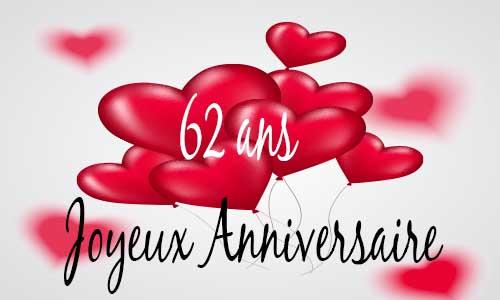 Carte Anniversaire Amour 62 Ans Ballon Coeur