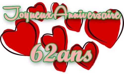 Carte Anniversaire Amour 62 Ans Coeur Rouge