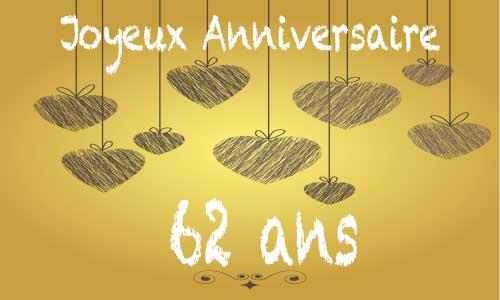 Carte Anniversaire Amour 62 Ans Craie Coeur