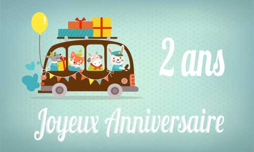 Connu Carte anniversaire enfant 2 ans bus FS17