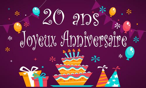 Carte Anniversaire 20 Ans A Imprimer Invitation Carte Anniversaire
