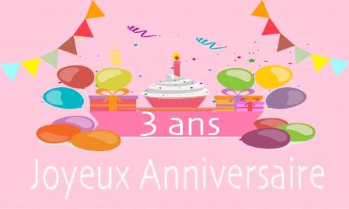 Carte anniversaire enfant 3 ans rose - Anniversaire 3 ans fille ...
