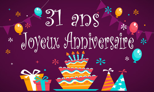 carte anniversaire enfant 31 ans gateau. Black Bedroom Furniture Sets. Home Design Ideas
