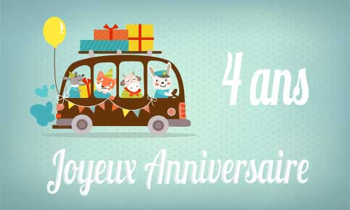 carte anniversaire enfant 4 ans bus. Black Bedroom Furniture Sets. Home Design Ideas