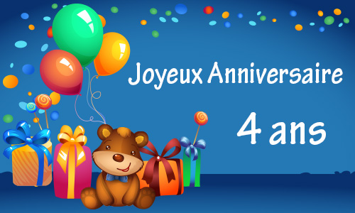 carte anniversaire enfant 4 ans nounours. Black Bedroom Furniture Sets. Home Design Ideas