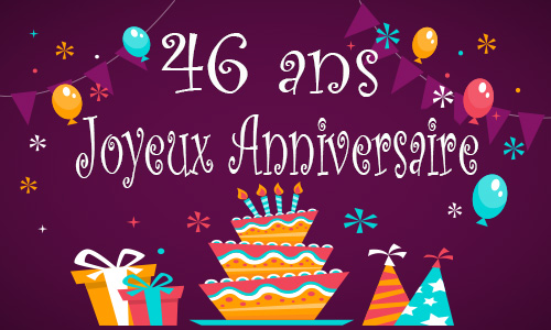 carte anniversaire enfant 46 ans gateau. Black Bedroom Furniture Sets. Home Design Ideas