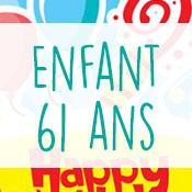 Carte anniversaire enfant 61 ans