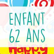 Carte anniversaire enfant 62 ans