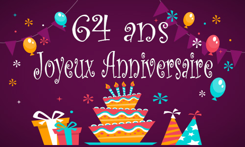 carte anniversaire enfant 64 ans gateau