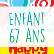 Carte anniversaire enfant 67 ans