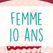 Carte anniversaire femme 10 ans