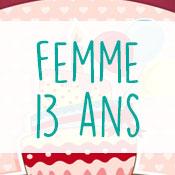 Carte anniversaire femme 13 ans