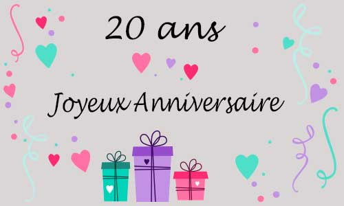 carte anniversaire femme 20 ans coeur. Black Bedroom Furniture Sets. Home Design Ideas