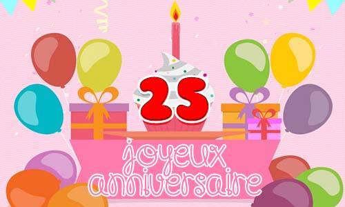 Assez Carte anniversaire femme 25 ans girly FG61