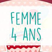 Carte anniversaire femme 4 ans