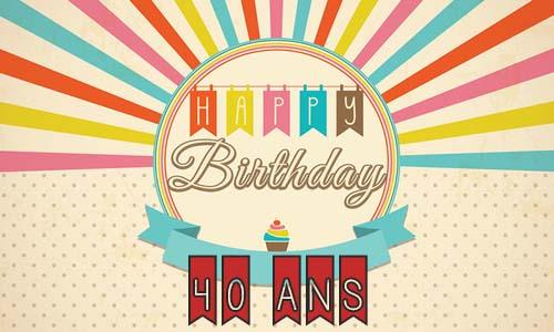 Carte anniversaire femme 40 ans retro - Carte anniversaire 40 ans femme a imprimer ...