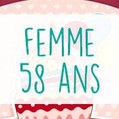 Carte anniversaire femme 58 ans