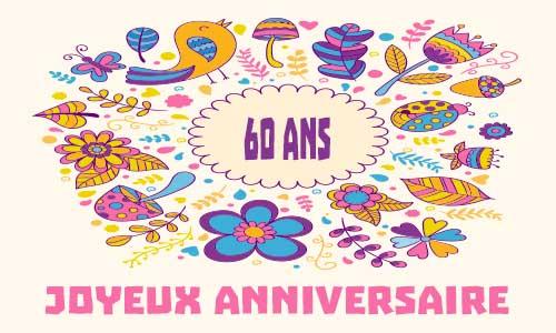 Carte anniversaire femme 60 ans oiseau - Carte invitation anniversaire 60 ans femme gratuite a imprimer ...