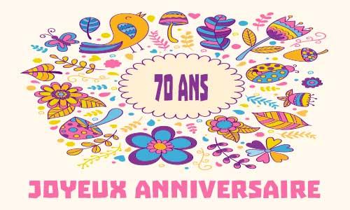 Populaire Carte anniversaire femme 70 ans virtuelle gratuite à imprimer  ET17