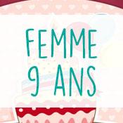 Carte anniversaire femme 9 ans