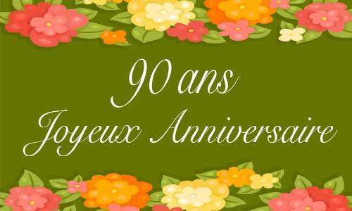 Carte anniversaire femme 90 ans vert fleur for Bouquet de fleurs pour 60 ans