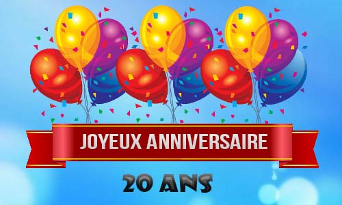carte anniversaire homme 20 ans ballons ciel. Black Bedroom Furniture Sets. Home Design Ideas