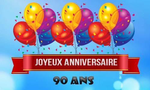Carte Anniversaire Homme 90 Ans Ballons Ciel