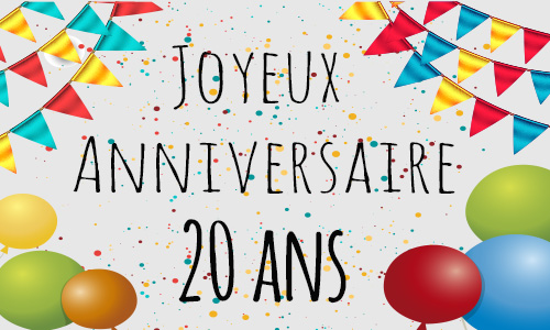 carte anniversaire humour 20 ans confetti. Black Bedroom Furniture Sets. Home Design Ideas