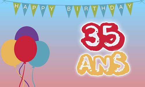 Carte anniversaire humour 35 ans fete ballon - Image de carte de fete ...