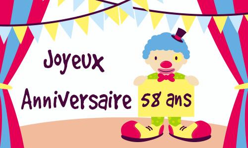 Carte Anniversaire Humour 58 Ans Cirque