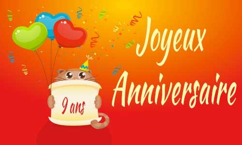 Célèbre Carte anniversaire humour 9 ans virtuelle gratuite à imprimer  FZ35