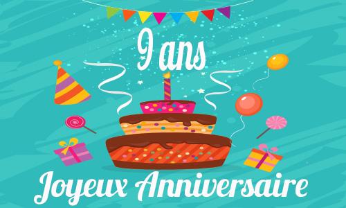 Célèbre Carte anniversaire humour 9 ans gateau drole FZ35
