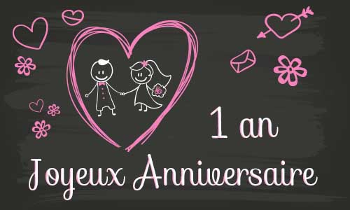 carte anniversaire mariage 1 an tableau. Black Bedroom Furniture Sets. Home Design Ideas