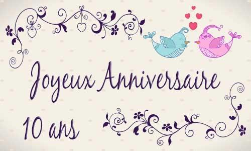 Carte anniversaire mariage 10 ans oiseau - Cadeau 10 ans de mariage ...