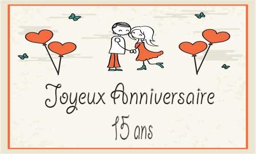 Carte Anniversaire Mariage 15 Ans Coeur Papillon