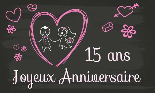 carte anniversaire mariage 15 ans tableau. Black Bedroom Furniture Sets. Home Design Ideas