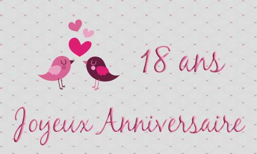 carte anniversaire mariage 18 ans oiseau coeur. Black Bedroom Furniture Sets. Home Design Ideas