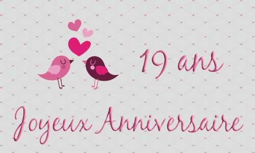 Carte Anniversaire Mariage 19 Ans Oiseau Coeur