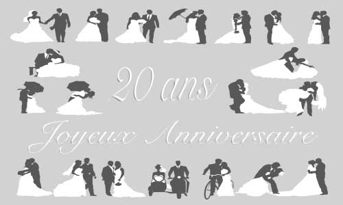 carte anniversaire mariage 20 ans gris. Black Bedroom Furniture Sets. Home Design Ideas